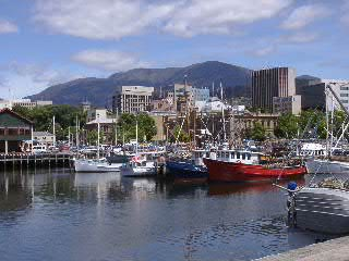 View from the port of Hobart and Mt. Wellington