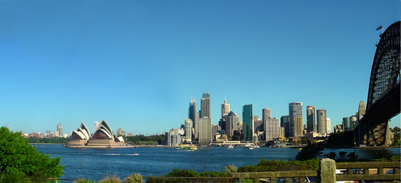 A view of Sydney Harbour, with the Sydney Opera House on the left