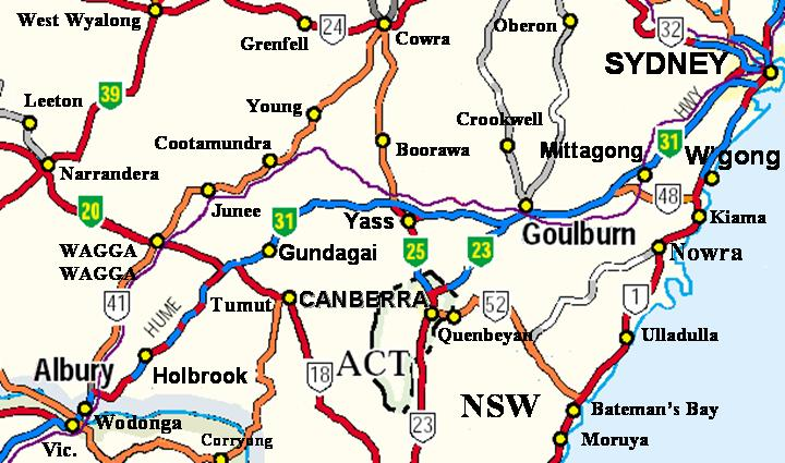 Hume Highway Map - New South Wales, Australia
