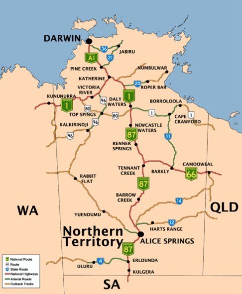 Northern Territory of Australia Road Network Map