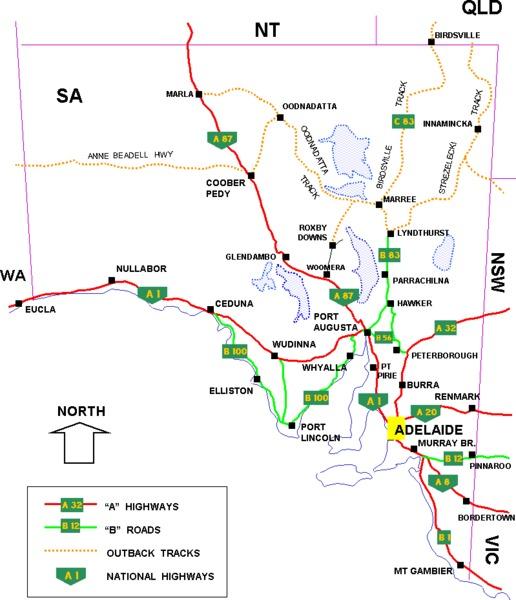 South Australia Road Network Map