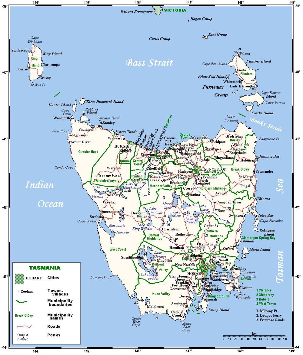 Tasmania Australia Road Network Map