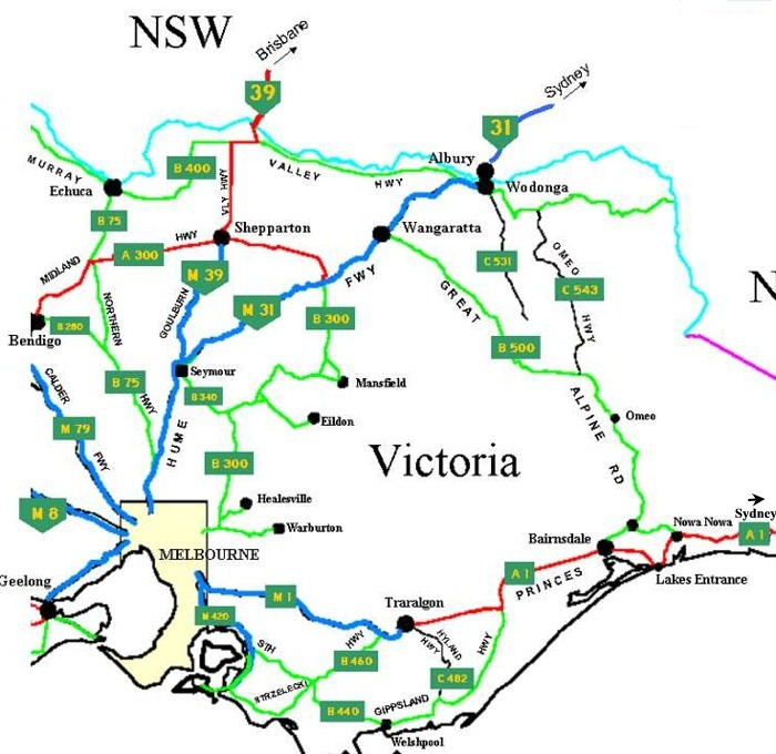 Eastern Victoria Australia Road Network Map