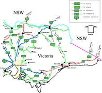 Eastern Victoria Australia cities towns settlements road network map
