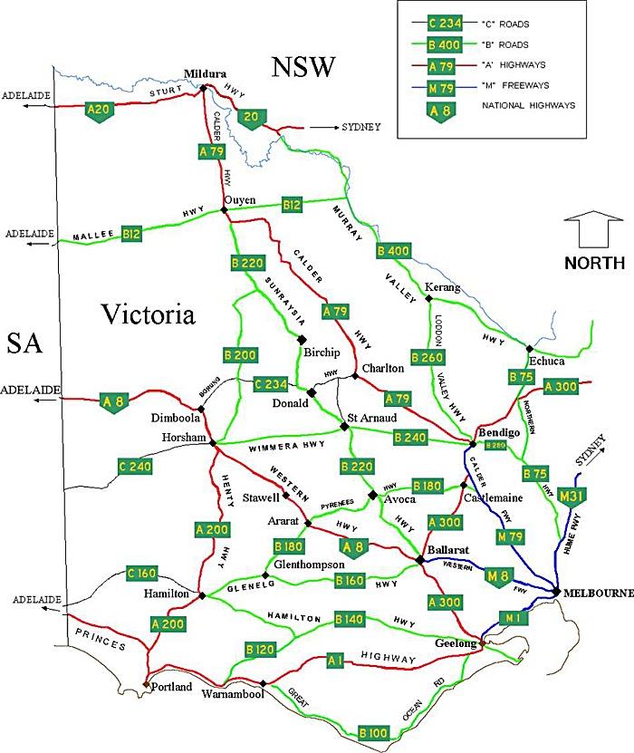 Western Victoria Australia Road Network Map