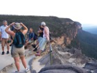 Tour party on viewing platform in the Blue Mountains in Australia