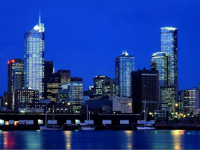 The Western Melbourne skyline at night, from Docklands
