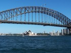 The Sydney Harbour Bridge with the Sydney Opera House in the background